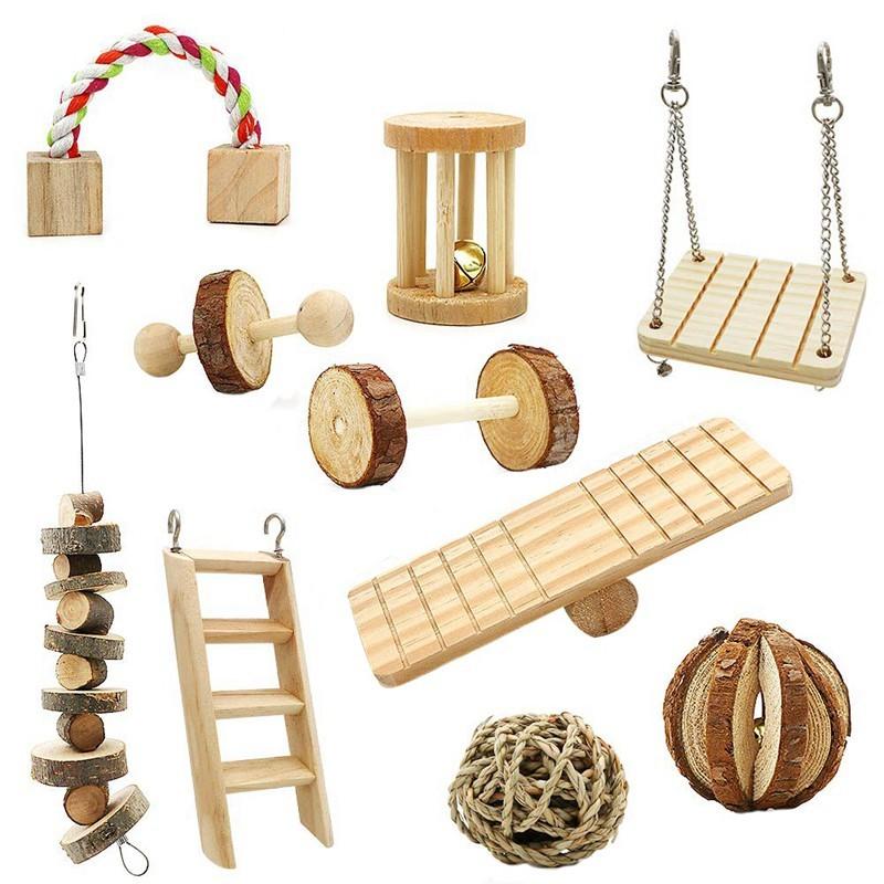 Juguetes para conejos enanos de madera