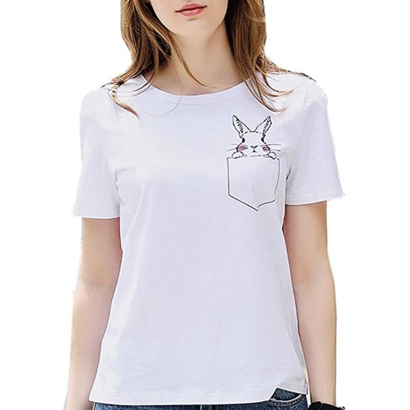 Chica con camiseta de conejo blanca - camisetas con conejos de mujer