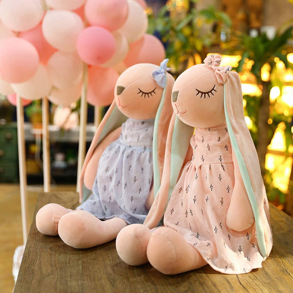 Conejitas de peluche azul y rosa